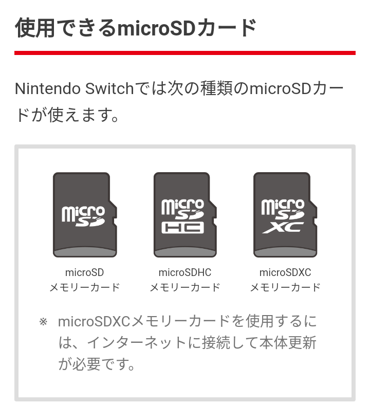 Switch マイクロ sd カード